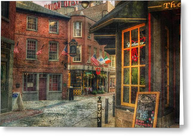 The Houses Greeting Cards - Union Oyster House - Blackstone Block - Boston Greeting Card by Joann Vitali