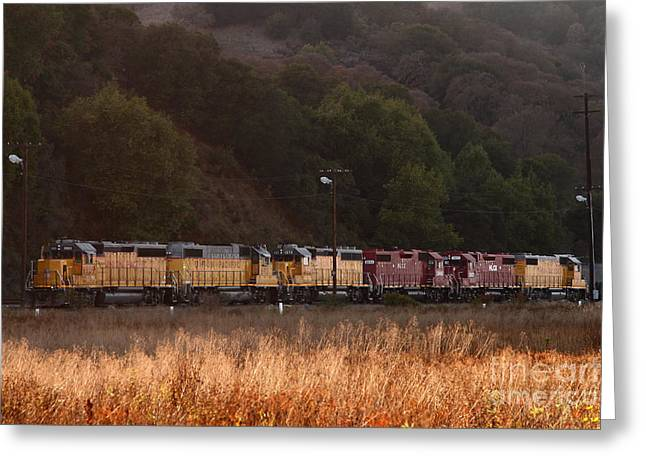 Boxcars Greeting Cards - Union Pacific Locomotive Trains . 7D10551 Greeting Card by Wingsdomain Art and Photography