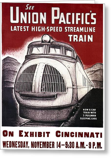 P.r Greeting Cards - Union Pacific Record-breaking Streamline Train 1934 Greeting Card by Daniel Hagerman
