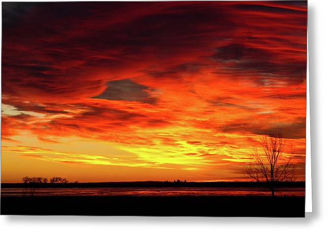 Sunset Prints Greeting Cards - Union Reservoir Epic Sunrise Longmont Colorado Boulder County Greeting Card by James BO  Insogna