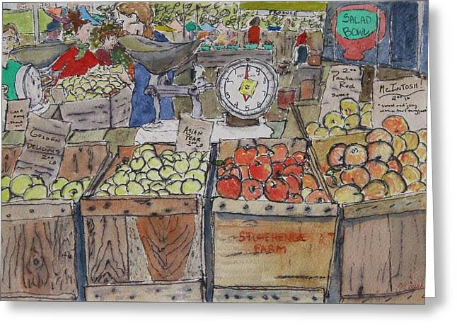 Union Square Greeting Cards - Union Square Farmers Market Greeting Card by Erin Hollon