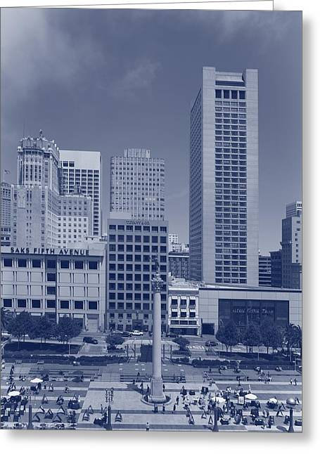 Union Square In San Francisco - Cyanotype Greeting Card by Mountain Dreams