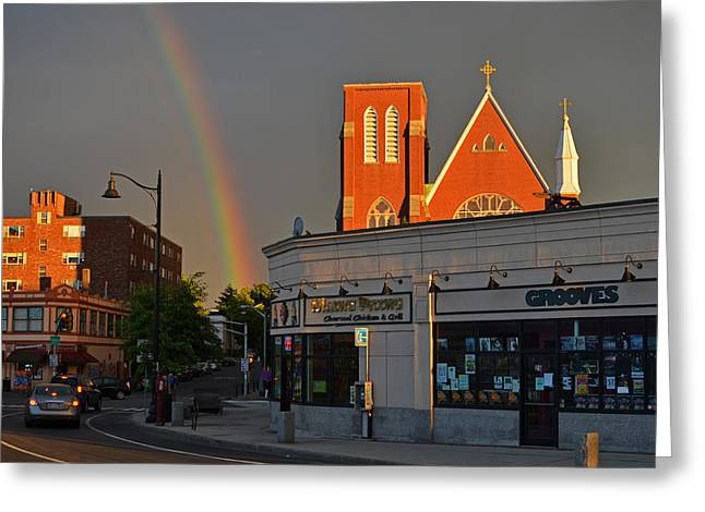 Saint Joseph Digital Greeting Cards - Union Square Somerville Rainbow Greeting Card by Toby McGuire