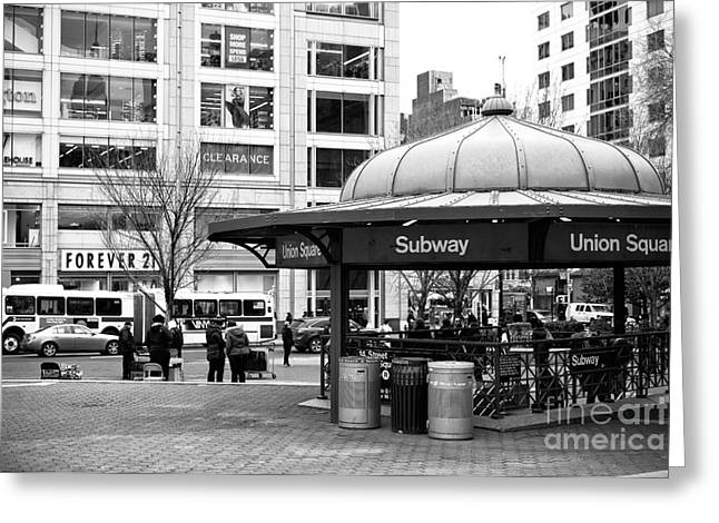 Union Square Subway Greeting Card by John Rizzuto