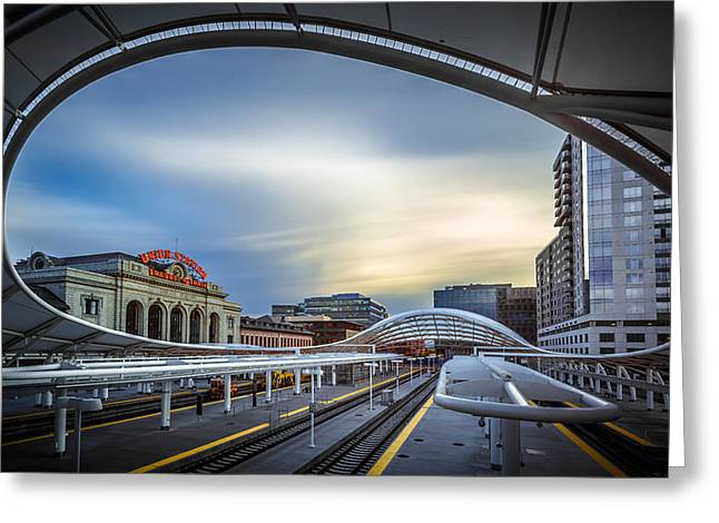 Ceiling Greeting Cards - Union Station Denver - Slow Sunset Greeting Card by Jan Abadschieff