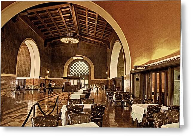 Union Station Restaurant Greeting Card by Joseph Hollingsworth
