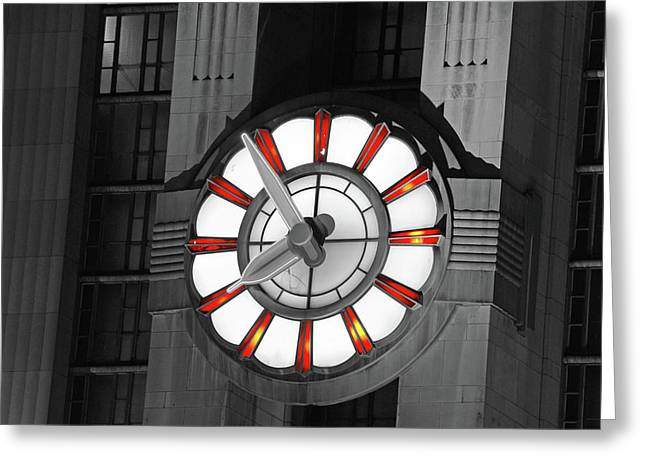 Todd Greeting Cards - Union Terminal Clock Greeting Card by Russell Todd