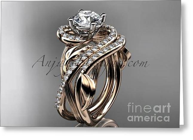Engagement Jewelry Greeting Cards - Unique 14kt rose gold diamond leaf and vine engagement ring set ADLR222S   Greeting Card by AnjaysDesigns com