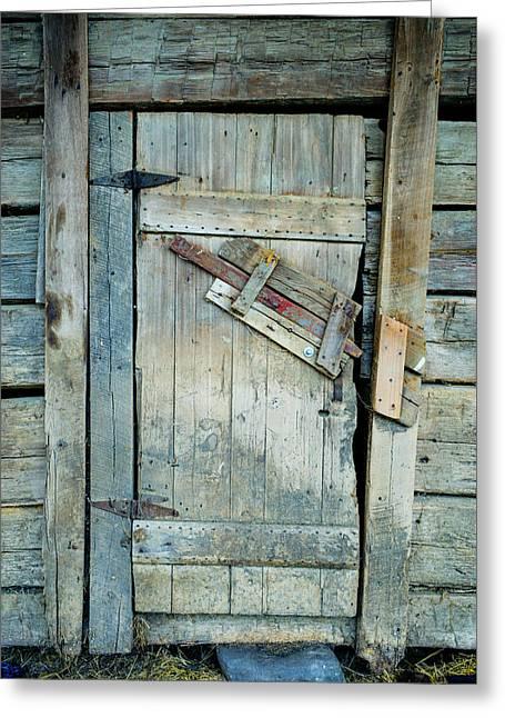 Barn Door Greeting Cards - Unique Barn Door Latch Greeting Card by Douglas Barnett