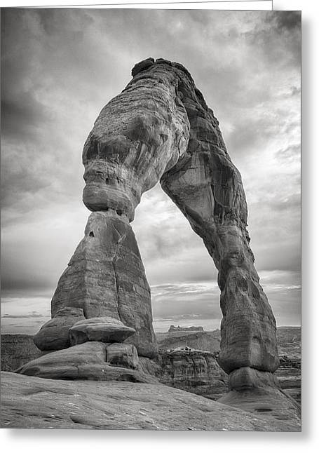 Black And White Hdr Greeting Cards - Unique Delicate Arch Greeting Card by Adam Romanowicz