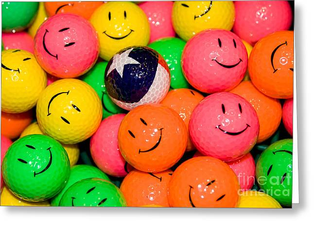 Unique Golfballs Greeting Card by Anthony Totah