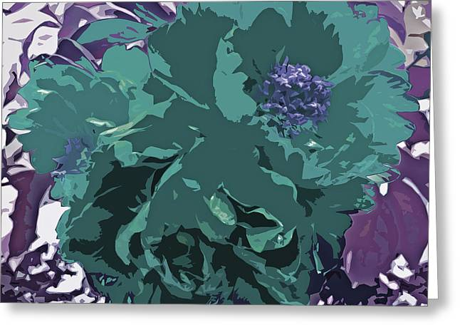 Subtle Colors Greeting Cards - Unique Trio Of Flowers Abstract in Purple and Teal Blue  Greeting Card by Adri Turner