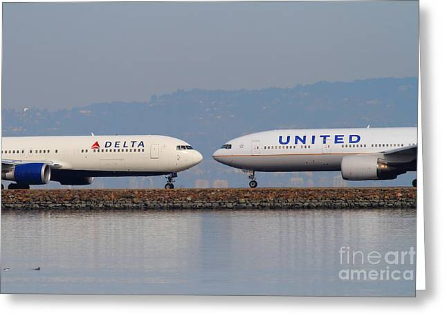 United Airlines 747 Greeting Cards - United Airlines And Delta Airlines Jet Airplane At San Francisco International Airport SFO . 7D12091 Greeting Card by Wingsdomain Art and Photography