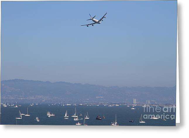 United Airlines 747 Greeting Cards - United Airlines Boeing 747 Over The San Francisco Bay At Fleet Week . 7D7860 Greeting Card by Wingsdomain Art and Photography