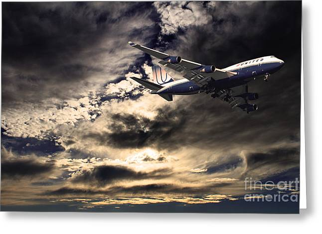 United Airlines 747 Greeting Cards - United Airlines . Flying The Friendly Skies Greeting Card by Wingsdomain Art and Photography