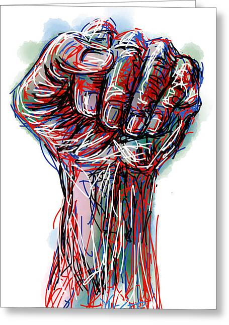 Clenched Fist Greeting Cards - United America Greeting Card by Robert Yaeger