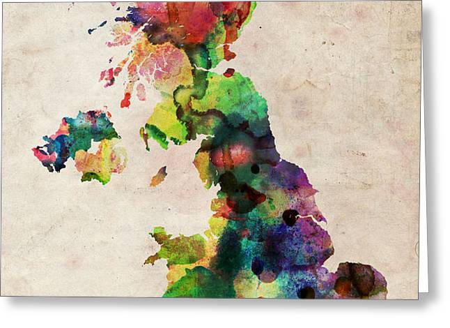 United Kingdom Watercolor Map Greeting Card by Michael Tompsett