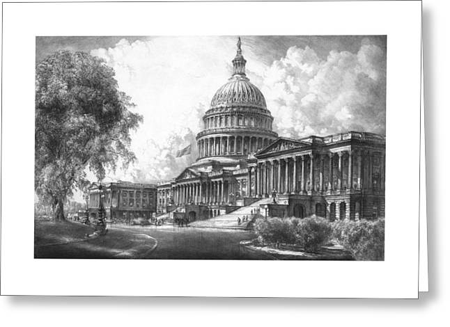 Historic Architecture Mixed Media Greeting Cards - United States Capitol Building Greeting Card by War Is Hell Store