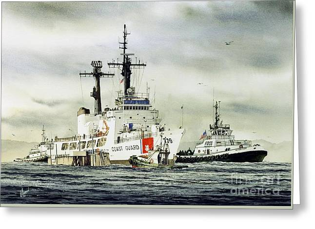 Assist Greeting Cards - United States Coast Guard BOUTWELL Greeting Card by James Williamson