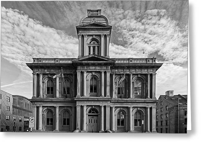 Old Maine Houses Greeting Cards - United States Custom House - Portland Maine Greeting Card by Mountain Dreams