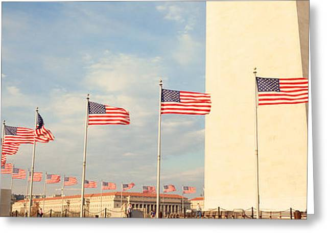 Flag Of Usa Greeting Cards - United States Flags At The Base Greeting Card by Panoramic Images