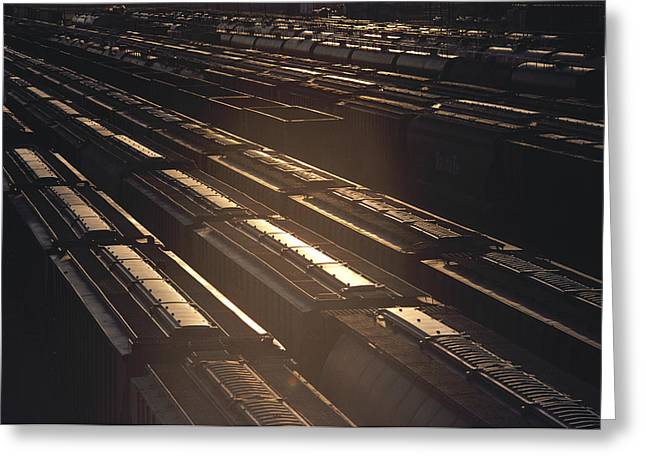 Cargo Train Greeting Cards - United States, Kansas, Freight Trains Greeting Card by Keenpress
