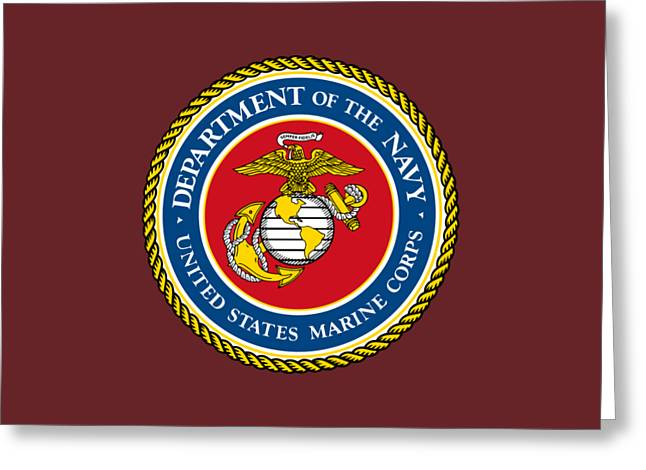 Us Navy Drawings Greeting Cards - United States Marine Corps Greeting Card by Pg Reproductions