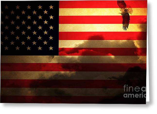 July 4th Photographs Greeting Cards - United States of America . Land of The Free Greeting Card by Wingsdomain Art and Photography