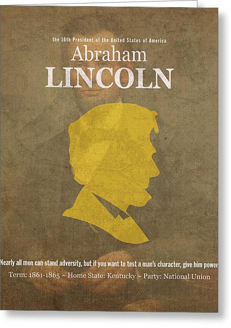 United States Of America President Abraham Lincoln Facts Portrait And Quote Poster Series Number 16 Greeting Card by Design Turnpike