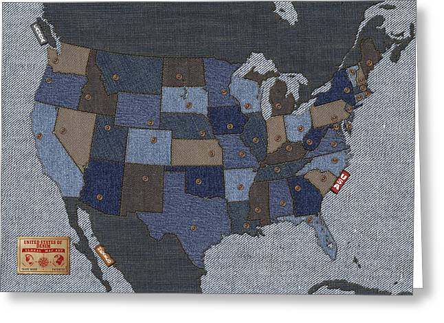 Labelled Mixed Media Greeting Cards - United States of Denim Greeting Card by Michael Tompsett