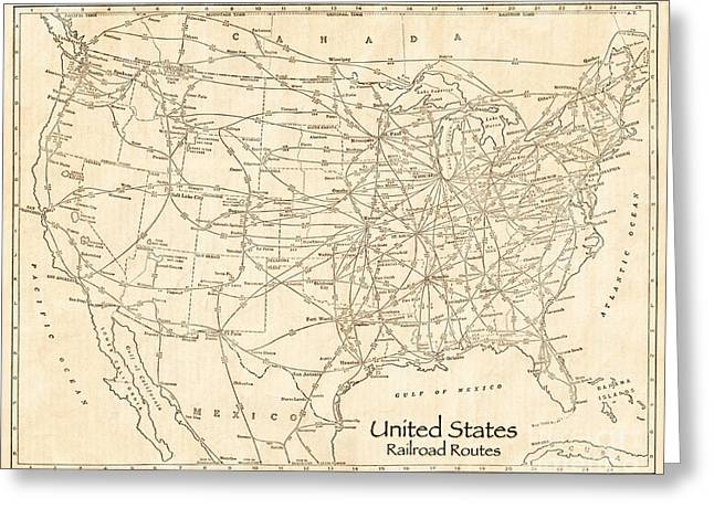 Cargo Train Greeting Cards - United States Railroad Routes Antique Vintage Country Map Greeting Card by ELITE IMAGE photography By Chad McDermott