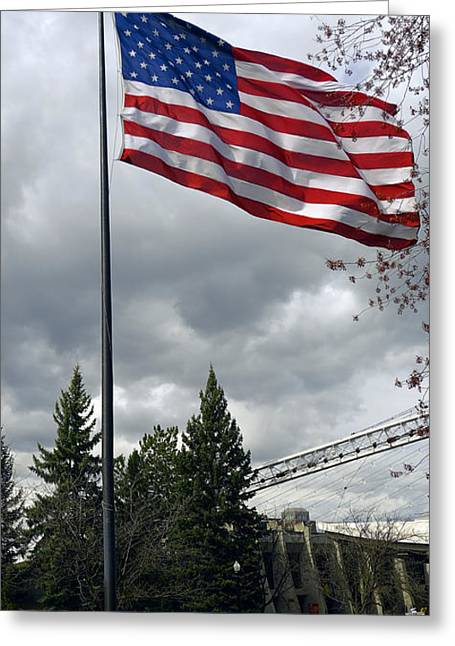 Spokane Greeting Cards - UNITED STATES STARS and STRIPES Greeting Card by Daniel Hagerman