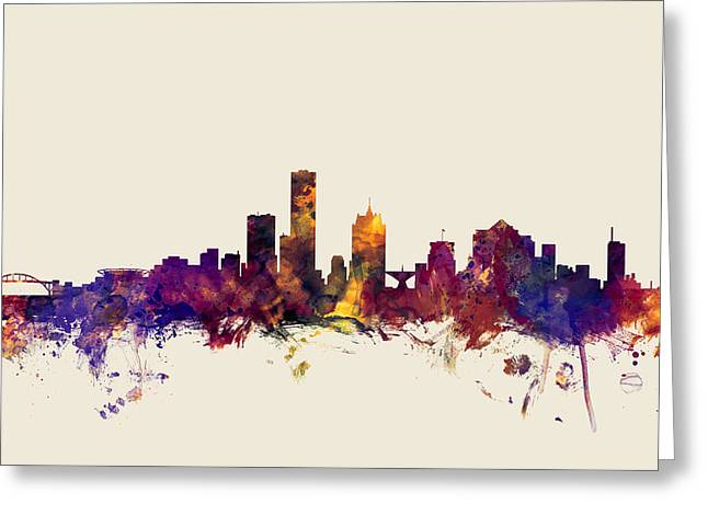 Milwaukee Greeting Cards - united states, usa, city skyline, watercolour, watercolor, urban,  silhouette, cityscape, Minneapoli Greeting Card by Michael Tompsett