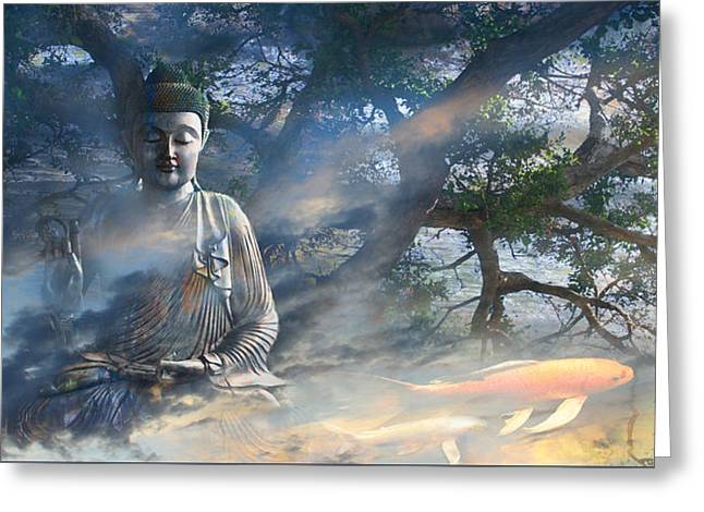 Spiritual Art Greeting Cards - Universal Flow Greeting Card by Christopher Beikmann