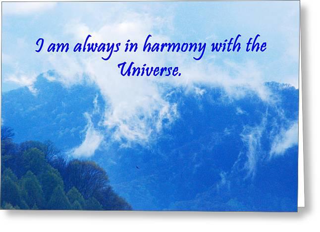 Affirmation Digital Art Greeting Cards - Universal Harmony  Greeting Card by Michelle  BarlondSmith