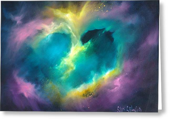 Universe Of The Heart Greeting Card by Sally Seago