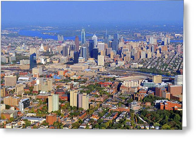 Aerial Photograph Greeting Cards - University City Philadelphia Fall 2010 Greeting Card by Duncan Pearson