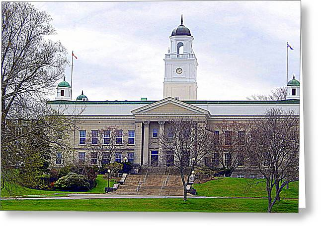 Stepping Stones Greeting Cards - University Hall Greeting Card by Karen Cook