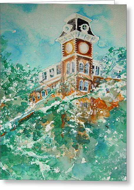 Ice On Old Main Greeting Card by Robin Miller-Bookhout