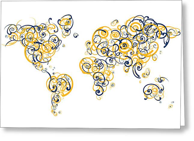 Uc Berkeley (cal) Digital Greeting Cards - University of California Berkeley Colors Swirl Map of the World  Greeting Card by Jurq Studio