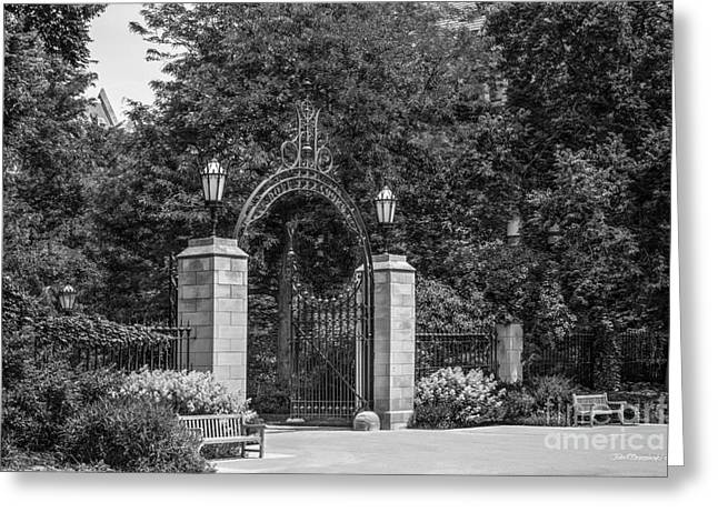 University Of Chicago Hull Court Gate Greeting Card by University Icons