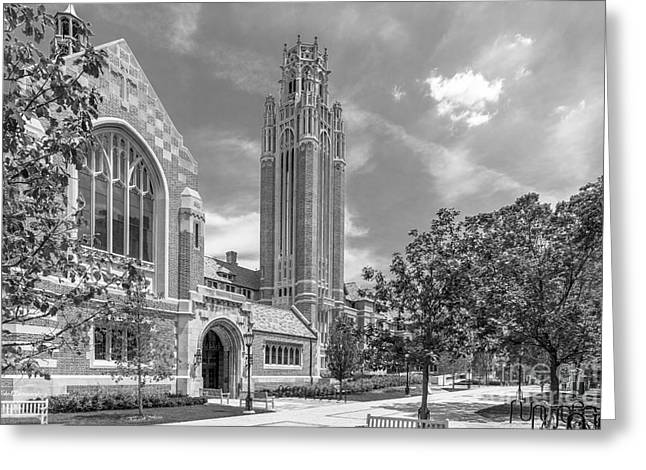 Hall Greeting Cards - University of Chicago Saieh Hall for Economics Greeting Card by University Icons