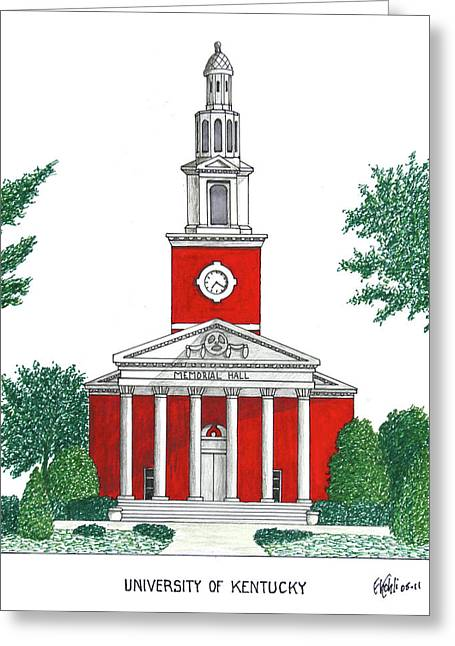 College Campus Buildings Drawings Greeting Cards - University of Kentucky Greeting Card by Frederic Kohli