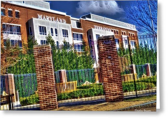 Terrapin Greeting Cards - University of Maryland - Byrd Stadium Greeting Card by Stephen Younts