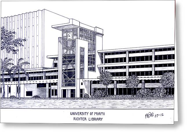 University Of Miami Greeting Cards - University of Miami Greeting Card by Frederic Kohli