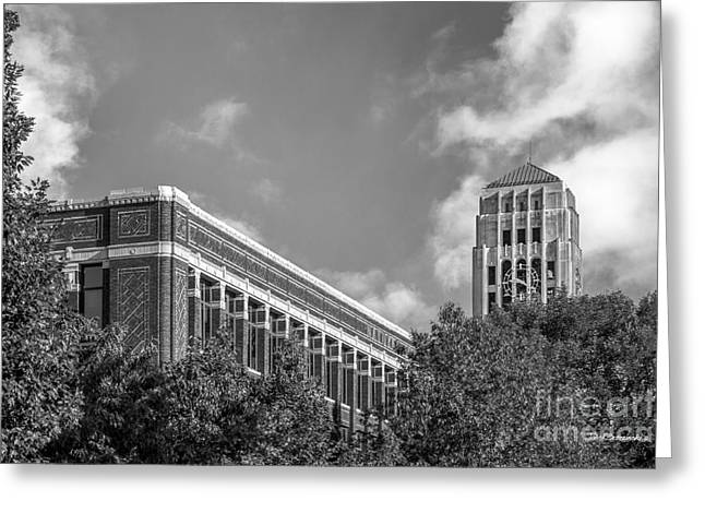 Burton Greeting Cards - University of Michigan Natural Sciences Building with Burton Tower Greeting Card by University Icons