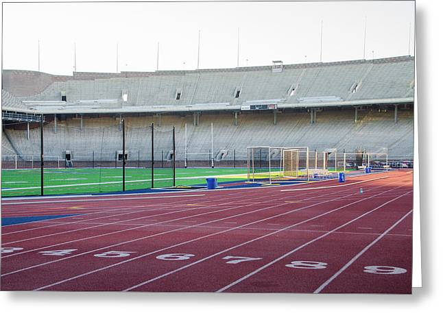 University Of Penn Franklin Field Track Greeting Card by Bill Cannon