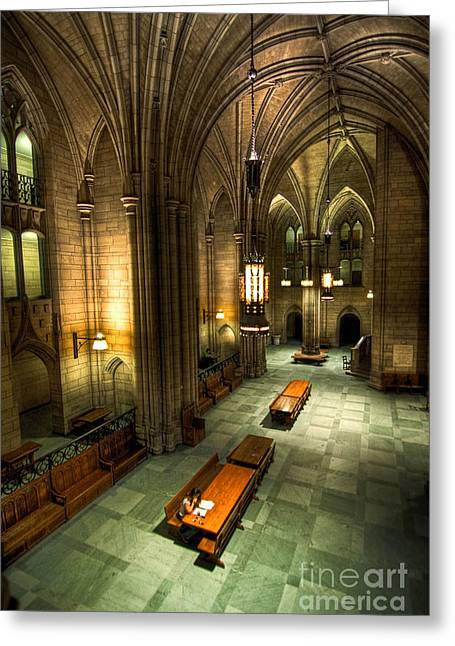 University Of Pittsburgh Pyrography Greeting Cards - University of Pittsburgh Cathedral of Learning Greeting Card by Amy Cicconi