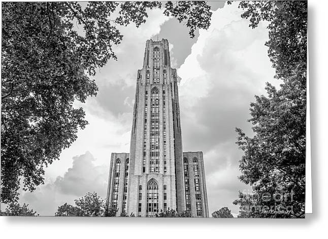 University Of Pittsburgh Cathedral Of Learning Front Greeting Card by University Icons
