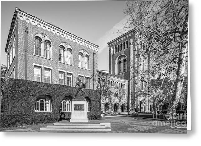 University Of Southern California Admin Bldg With Tommy Trojan Greeting Card by University Icons